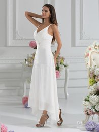 Wholesale Cheap A Line V Neck Ankle Length Beach Garden Wedding Dresses With a Wraps Sexy Low V Back Party Gowns A Line Chiffon Wedding Dresses
