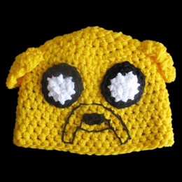 Wholesale Novelty Crochet Jake the Dog Hat Adventure Time Animated Cartoon Baby Boy Girl Beanie Handmade Animal Hat Infant Toddler Photo Prop