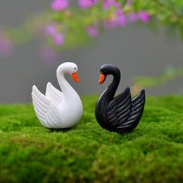 Artificial mini goose swan black white fairy garden miniatures gnomes moss terrariums resin craft for home decoration accessories diy