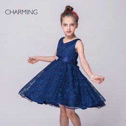 Wholesale royal blue pageant dresses party designer dresses V neck sleeveless style Belts decoration Lace fabric best chinese suppliers