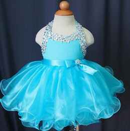 Halter short Cupcake beaded crystal kids glitz Girl's Pageant Dress for birthday organza Blue baby girls pageant gown