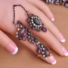Wholesale New Arrival Adjustable Turkish Two Finger Rings For Party Women Blue Acrylic Hollow Out Flower Design Vintage Ring Brand Anel