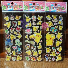 Wholesale poke Sticker Poke Pikachu D Wall Stickers go halder children kids toys gifts Wallpaper paster Kindergarten Reward cm