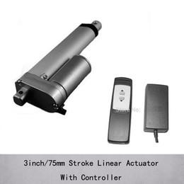 Actuadores lineales eléctricos de la corriente continua 24v de 3inch / 75m m carga 1000n 100kgs y velocidad de 10m m / s con el regulador alejado de la salida 24v desde controlador lineal fabricantes