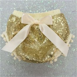 Ivory Gold Sequin Bloomers ,First Birthday ,Pom Pom Baby Diaper Cover ,Sequin Bloomers shorts with Bow ,Newborn outfit