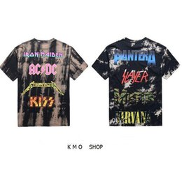 Wholesale harajuku swag streetwear kpop big and tall mens t shirts fashion hip hop rock tshirts iron maiden metallica tie dye