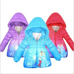Wholesale Baby Cinderella Parkas Girls Long Down Coat Cinderella Cotton Padded Clothes Winter Outwear Hoodies Hoody Down Jacket Jumper Outerwear B490