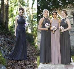2016 Cheap Grey Pink Navy Blue Lace Bridesmaid Dresses Halter Neck Chiffon Long Formal Bridesmaids Formal Maid Of Honor Wedding Dresses