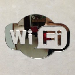 Wholesale WIFI Sign Mirrored Sticker for Glass Door of Coffee Shop Restaurant Hotels Place of Business Acrylic Mirror Decoration