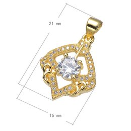 Keychain Jewelry Accessories Cubic Zircon Micro Pave Copper Pendant Diamond Plated More Colors For Choice 16x21mm Hole:About 3.6mm 10PCS Lot