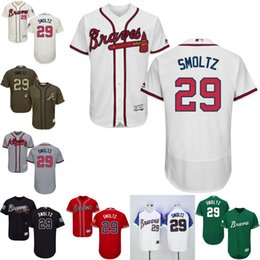 Cheap Green grey red John Smoltz Authentic Jersey , Men's #5 Majestic MLB Atlanta Braves Flexbase Collection stitched