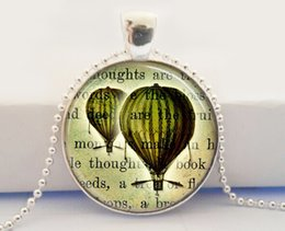 Wholesale Green Hot Air Balloon Necklace Steam Punk Jewelry Steampunk Book Pages Art Pendant Necklace