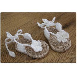 Wholesale baby girl Toddler shoes Crochet Handmade Woolen Crochet Knit soft bottom summer kids shoes M chaussure bebe fille