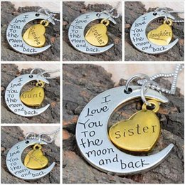 Vintage Moon Necklace I Love You To The Moon And Back For Mom Dad Sister Brother Family Pendant Link Chain Mother's Day gift