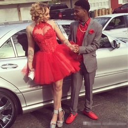 Wholesale 2016 Red Sheer Halter Homecoming Dresses Lace Appliques Short Mini Sexy Backless Cheap Junior th High School College Graduation Gowns