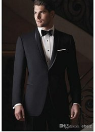 Wholesale 2016 black thin body men s wedding suits shawl lapel the groom and attendants crime wedding suit jacket pants vest bow