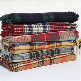 Mejores bufandas de moda en Línea-Las mujeres de la moda de la tela escocesa bufanda caliente suave manta de invierno de la bufanda de las mujeres de gran tamaño del tartán de la bufanda del mantón de las bufandas de la bufanda envuelve el mejor precio online
