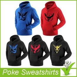 Wholesale 2016 New Men s Fashion Poke Go Logo Sweatshirts Pullover Casual Pocket Monster Camp Long Sleeve Hoodies Poke Mon Polyester Printing Cloth