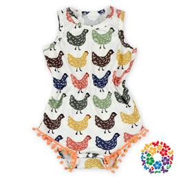 Wholesale Hot Style Baby Kids Pom Pom Chicken Romper Little Girls Sleeveless Summer Pompom Romper Bulk Infant Rompers Outfits