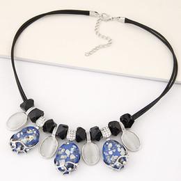 Fashion Choker Statement Maxi Necklace Resin Stone Necklaces & Pendants Rope Cord Vintage Necklace Bijoux Femme