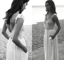 2016 Two Pieces Spaghetti Straps White Chiffon Wedding Dresses A-Line Beaded Applique Chiffon Summer Beach Bridal Wedding Dresses