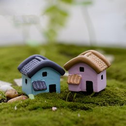 Wholesale New design mini dollhouse house mix colors fairy garden miniatures gnomes moss terrariums resin craft for home decoration zakka