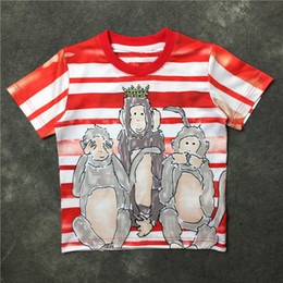 Lovers summer 2016 new European and American tide card three monkeys of men and women cotton loose short-sleeved striped t-shirt women