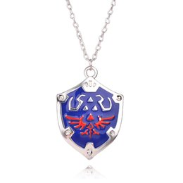 Wholesale new The Legend of Zelda Metal Pendant zelda mark necklace metal link chain necklaces Hylian hield Ocarina of time collar choker