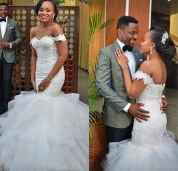 Wholesale African Mermaid Wedding Dresses Off the Shoulder Applique Ruffles Chapel Train Tulle Lace Up Custom Made Bridal Gowns Country Style