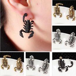 Wholesale Scorpion Stud Earrings - Fashion Punk Black Gold Silver Color bizarre Animal Alloy Scorpion Earrings For Women Fine Jewelry Free Shipping 2016 New
