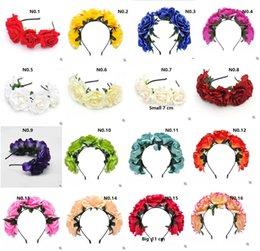 Tissu fleurs artificielles main bande cinq Rose femmes de mode filles Head Head Hoop accessoires à partir de tissu rose têtes fournisseurs