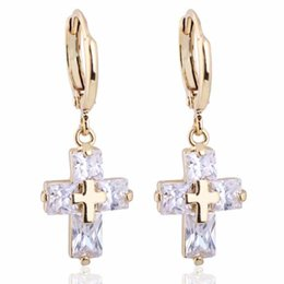 Fashion Jewelry 18K Yellow Gold Plated Clear Cubic Zirconia CZ Cross Hoop Earrings for Women