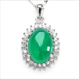 New 925 Silver Inlaid Natural Chalcedony Necklace Fashion Green Oval Pendant Jade Jewelry For Women Free Shipping