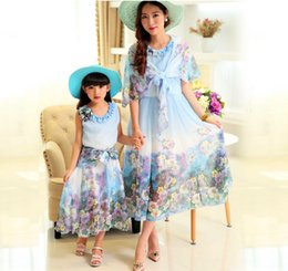 Summer wear the new 2016 Bohemian fashion shawls three-dimensional flowers mother and daughter outfit long printed chiffon dress