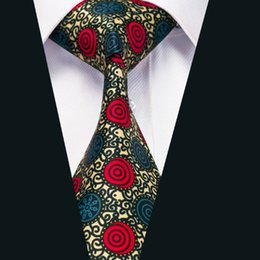Men's Wedding Gold Blue Red Floral Tie Classic Stylish Necktie New Arrival Printing Wide Formal Business Tie D-1231