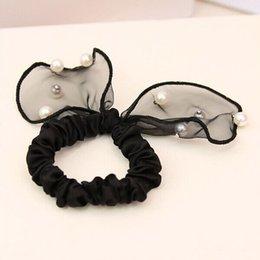 Wholesale F318 pearl lace rabbit ear hair bands headdress flower Bowknot is chiffon hair rope hair accessories