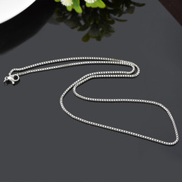 New 925 Sterling Silver plated Thin Link Box Chain 1mm Necklace for Pendant Charms Jewelry For Girls Womens Pure Stamped Italy