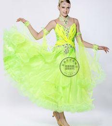 green customize Fox trot ballroom Waltz tango salsa Quick step competition dress