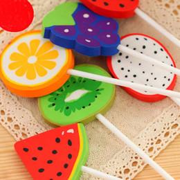 Free Shipping 10pcs Novelty Fruit Lollipops Shape Eraser Rubber Eraser Pencil Erasers School Office Supplies Papelaria