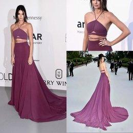 2016 Kendall Jenner Sexy Grape Spaghetti Two Pieces Backless Evening Dresses Sweep Train A Line Formal Red Carpet Celebrity Dresses
