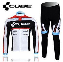 Wholesale cube Mens Cycling Jersey Sets Bike Suit Tracksuits Bicycle Jerseys Long Sleeve Sportswear Sports Clothes Racewear Bib Long Pants Trousers