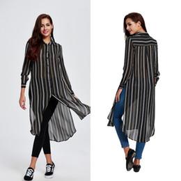 Wholesale Striped Shirt Lady - 2016 New Arrival Long Stripes Chiffon Blouse for Women Lady Clothing Fashion Slim Woman Hot Causal Shirt Women Tops Blouse FS0420