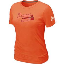 Wholesale Cheap Atlanta Braves Women Baseball T Shirt Short Sleeve Practice T shirt Cotton Atlanta Braves Tees Shirts Colors