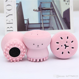 TM-HF002 Wash Brushes Super Little Cute Octopus Face Cleaner Massage Soft Silicone Facial Brush Face Cleansers Blackhead Spot Acne