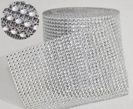 "Wholesale Crystal Mesh Rolls - Wedding Decoration 10yard roll 4.75"" 24 Rows manmade Diamond Mesh yards wrap Rhinestone Ribbon Crystal trim Wrap sparkle bling ribbon WT029"