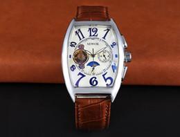 Rectangle Luxury Leather Strap Automatic Mechanical Analog Men Wrist Watch Fashion Wristwatch Gift Box 2016 New