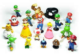 Wholesale 18 Pc Super Mario Brothers Figures Set yoshi dinosaur furnishing articles quot PVC Toys