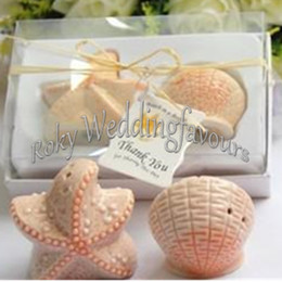 Wholesale DHL Sets Beach Theme Seashell and Starfish Salt Pepper Shaker Bridal Shower Souvenirs Party Decor Supplies