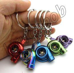 Wholesale 11 colors Spinning Turbo Keychain Automotive Car Part Model Turbine Turbocharger Sleeve Bearing Key Chain Ring Keyring Keyfob
