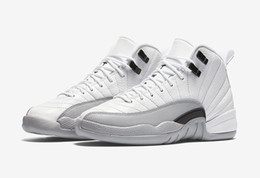 New Retro 12 GS Barons mens Basketball Shoes White Black-Wolf Grey 2016 new men Women Sport Shoes Cheap 12s Sneakers US 5.5-13